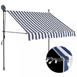 Ručně zatahovací markýza s LED světlem 150 cm Dekorhome Bílá / modrá