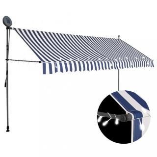 Ručně zatahovací markýza s LED světlem 350 cm Dekorhome Bílá / modrá