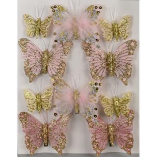 Sada vánočních ozdob Motýlci růžová, 10 ks