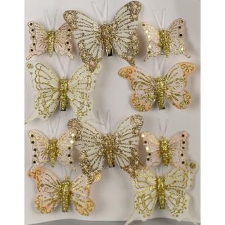Sada vánočních ozdob Motýlci zlatá, 10 ks