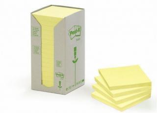 Samolepicí bloček, žlutá, 76x76 mm, 16x100 listů, recyklovaný, 3M POSTIT, bal. 1600 ks
