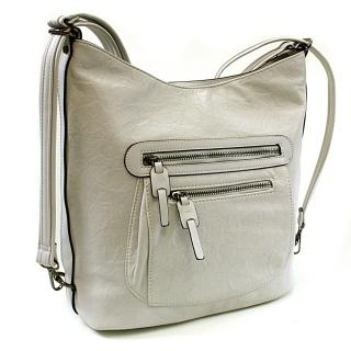 Šedá dámská kombinace crossbody kabelky a batohu Zoelle