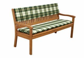 Sedák Doppler pro lavice, 2 místa - Káro/zelená