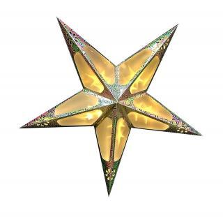 Seizis 60cm papírová hvězda,10 LED s 3D efektem, zlatá - rozbaleno
