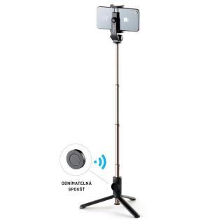 Selfie tyč FIXED Snap Lite s tripodem a bezdrátovou spouští černá