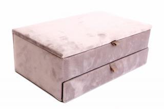 Sifcon Šperkovnice, 28x17 cm, samet, světle růžová - rozbaleno