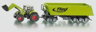 SIKU Farmer - Traktor s předním nakladačem a přívěsem 1:50