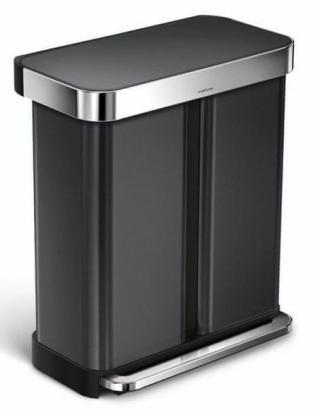 Simplehuman Pedálový odpadkový koš na tříděný odpad 58 l , černá ocel - zánovní