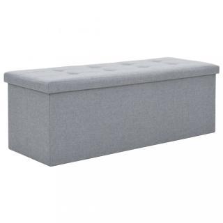 Skládací úložná lavice 110x38x38 cm umělý len Dekorhome Světle šedá