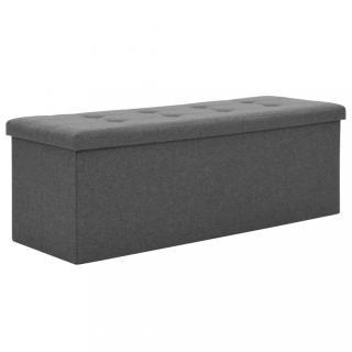 Skládací úložná lavice 110x38x38 cm umělý len Dekorhome Tmavě šedá