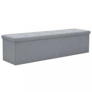 Skládací úložná lavice 150x38x38 cm umělý len Dekorhome Světle šedá