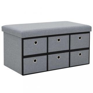 Skládací úložná lavice 76x38x38 cm umělý len Dekorhome Světle šedá