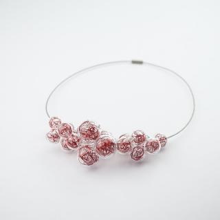 Skleněný červený náhrdelník Ko-ra-le Wired Foam