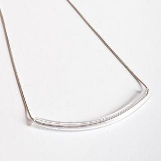 Skleněný náhrdelník ve stříbrné barvě Ko-ra-le Precious Smiley