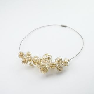 Skleněný náhrdelník ve zlaté barvě Ko-ra-le Wired Foam