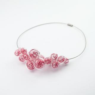 Skleněný růžový náhrdelník Ko-ra-le Wired Foam