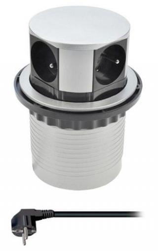 Solight Prodlužovací přívod, 4 zásuvky, stříbrný, 1,5m, výsuvný blok zásuvek, kruhový tvar - rozbaleno