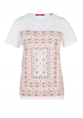 s.Oliver dámské tričko 14.005.32.5313/01D1 Bílá 38