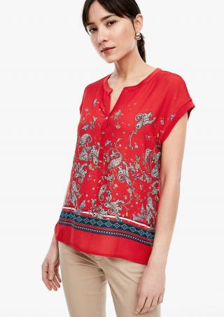 s.Oliver tričko z kombinace materiálů s kašmírovým vzorem 14.003.32.5191/58F0 Červená 36