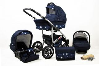 Sun Baby kočárek 3v1 Raf-pol Largo navy blue star - zánovní