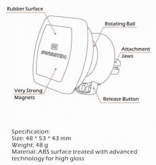 SWISSTEN Magnetický držák do ventilace auta S-GRIP Air Vent M3 65010307 - zánovní