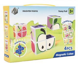Teddies Magnetické kostky ovoce 4 ks plast v krabici 24x17x5cm