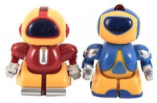 Teddies Mini roboti bojovníci RC 2ks plast 8cm na baterie se světlem v krabičce 24,5x14x9cm
