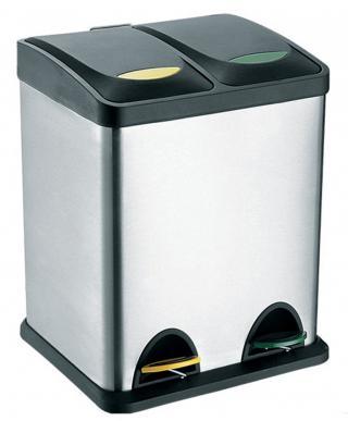 Toro  Nerezový koš s plastovým víkem na tříděný odpad 2x - zánovní