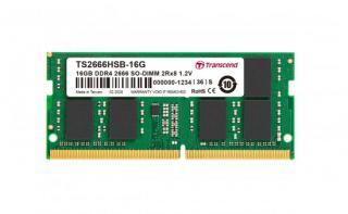 Transcend paměť 16GB SODIMM DDR4 2666 2Rx8 1Gx8 CL19 1.2V, TS2666HSB-16G