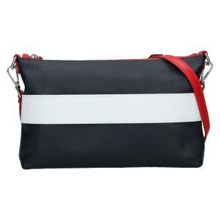 Trendy dámská kožená crossbody kabelka Facebag Elesn - modro-bílá