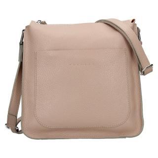 Trendy dámská kožená crossbody kabelka Facebag Miriana - béžová