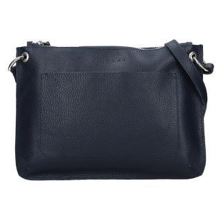 Trendy dámská kožená crossbody kabelka Facebag Nicol - tmavě modrá