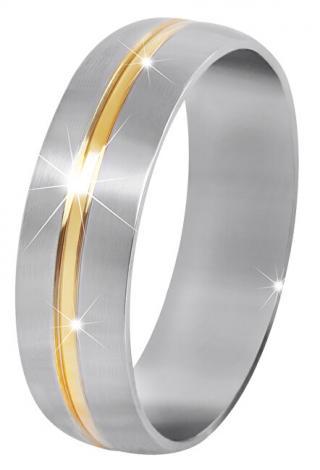Troli Ocelový snubní prsten se zlatým proužkem 57 mm
