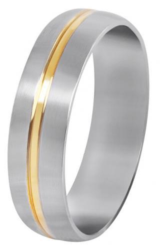 Troli Ocelový snubní prsten se zlatým proužkem 59 mm