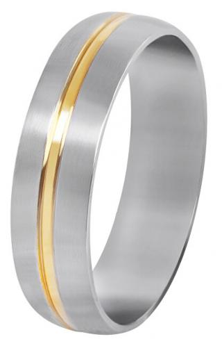 Troli Ocelový snubní prsten se zlatým proužkem 69 mm
