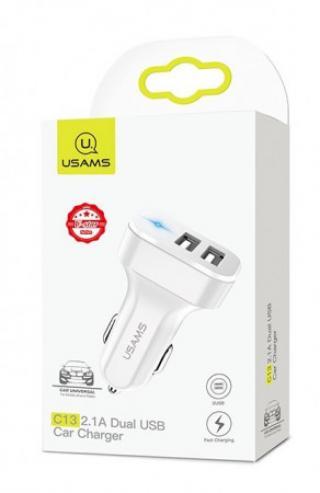 USAMS CC087 Dual USB Autodobíječ 2.1A White