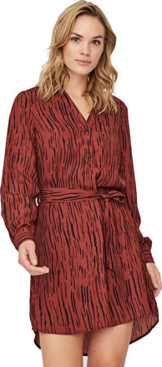Vero Moda Dámské šaty VMSINE L/S SHORT DRESS WVN BF Madder Brown Iben XS