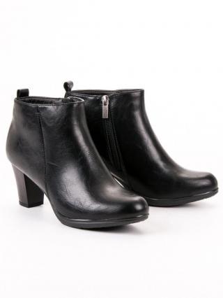 Vinceza Exkluzívní černé dámské kotníčkové boty na širokém podpatku   dárek zdarma, černé, 36
