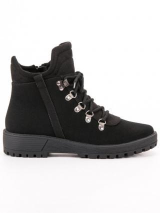 Vinceza Luxusní dámské kotníčkové boty černé na plochém podpatku   dárek zdarma, černé, 36