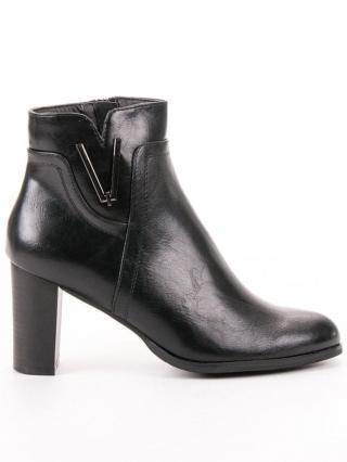 Vinceza Luxusní dámské kotníčkové boty černé na širokém podpatku   dárek zdarma, černé, 37