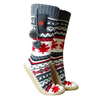 Vyhřívané ponožkové bačkory Glovii GOB červeno-bílo-šedá - M