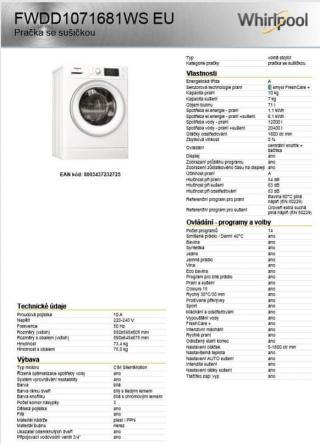 Whirlpool FWDD1071681WS EU - použité