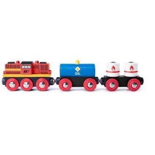 Woody Diesel lokomotiva s nákladním vlakem
