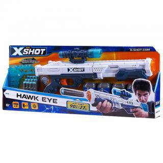 X-SHOT - Hawk Eye pistole   5 plechovek a 12 nábojů