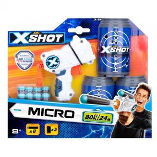 X-SHOT - Micro pistole, 3 plechovky, 8 nábojů