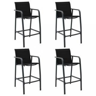Zahradní barové židle 4 ks  textilen Dekorhome Černá
