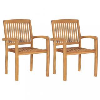 Zahradní jídelní židle 2 ks teakové dřevo Dekorhome