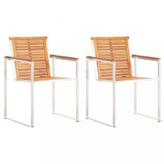 Zahradní židle 2 ks akáciové dřevo / nerezová ocel Dekorhome
