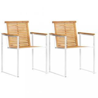 Zahradní židle 2 ks hnědá / stříbrná Dekorhome